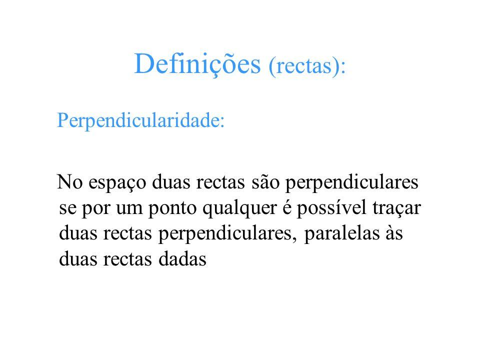 Definições (rectas): Perpendicularidade: No espaço duas rectas são perpendiculares se por um ponto qualquer é possível traçar duas rectas perpendicula