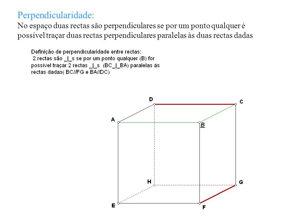 Propriedades: 1- Duas rectas paralelas (// s )a uma terceira são paralelas entre si 2- Dadas duas rectas // s, todo o plano que intersecta uma, intersecta a outra 3- Se duas rectas são _|_ s, toda a recta paralela a uma é _|_ à outra 4- Se duas rectas são // s, toda a recta _|_ a uma é _|_ à outra