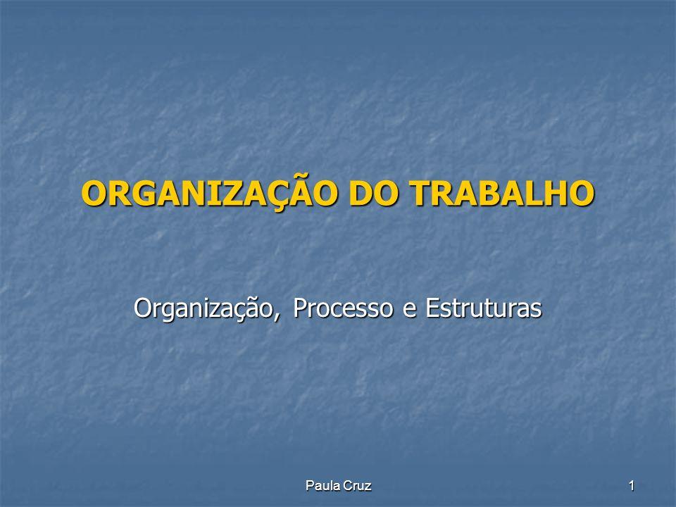 Paula Cruz2 ORGANIZAÇÃO DO TRABALHO Organização Processo de estabelecer relações entre as pessoas e os recursos disponíveis tendo em vista os objectivos que a empresa como um todo se propõe atingir.