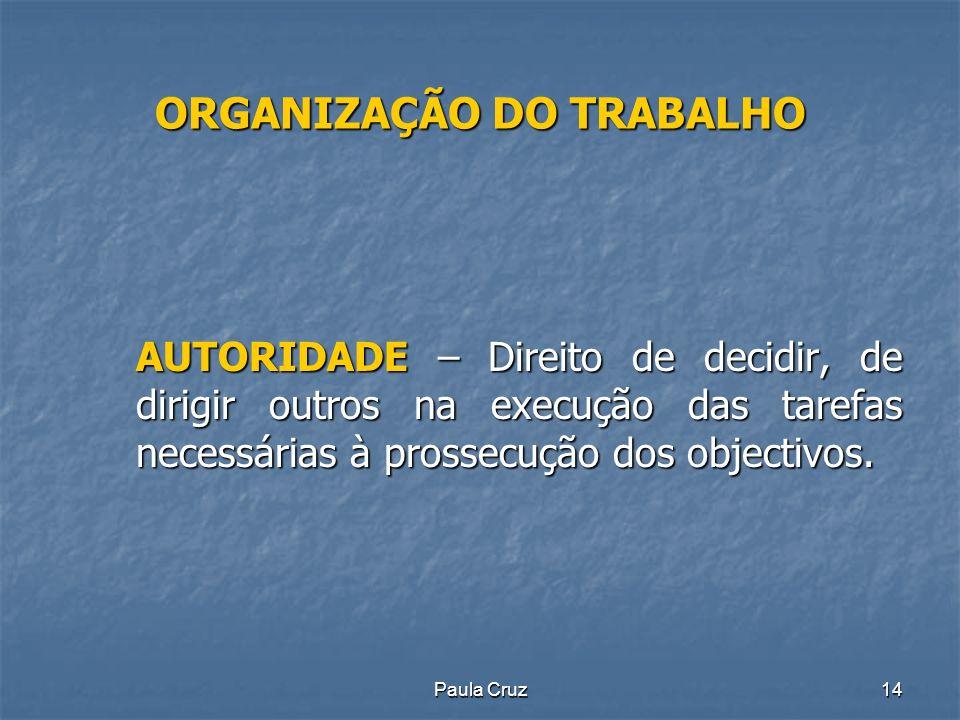 Paula Cruz14 ORGANIZAÇÃO DO TRABALHO AUTORIDADE – Direito de decidir, de dirigir outros na execução das tarefas necessárias à prossecução dos objectivos.