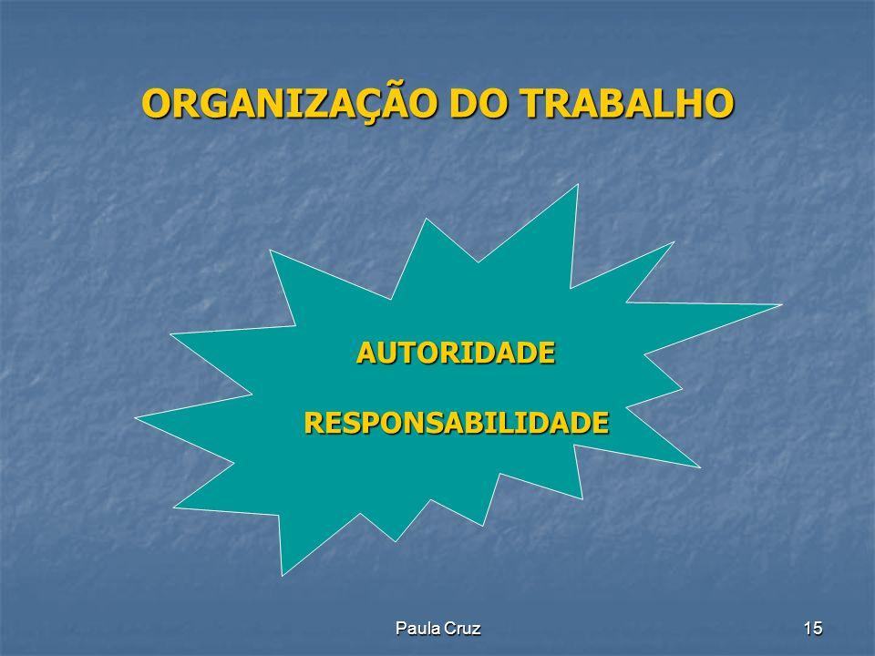 Paula Cruz15 ORGANIZAÇÃO DO TRABALHO AUTORIDADERESPONSABILIDADE