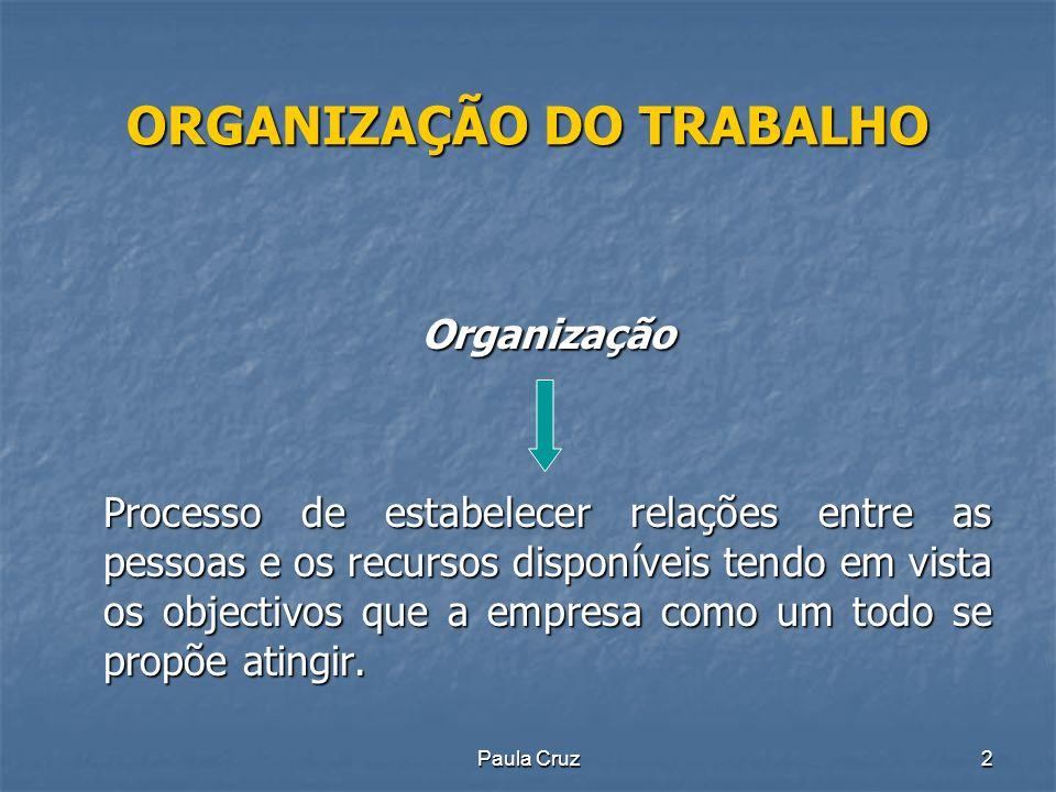 Paula Cruz33 ORGANIZAÇÃO DO TRABALHO Outros conceitos: Outros conceitos: Centralização: é a situação em que se verifica uma maior retenção da autoridade pelos gestores de nível superior e, consequentemente, um reduzido grau de delegação.