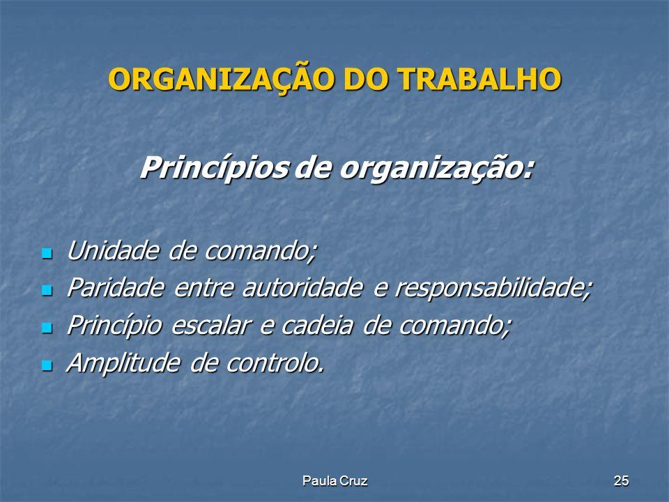 Paula Cruz25 ORGANIZAÇÃO DO TRABALHO Princípios de organização: Unidade de comando; Unidade de comando; Paridade entre autoridade e responsabilidade; Paridade entre autoridade e responsabilidade; Princípio escalar e cadeia de comando; Princípio escalar e cadeia de comando; Amplitude de controlo.