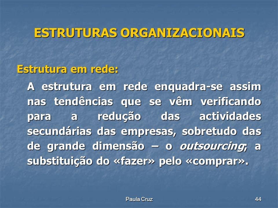 Paula Cruz44 ESTRUTURAS ORGANIZACIONAIS Estrutura em rede: A estrutura em rede enquadra-se assim nas tendências que se vêm verificando para a redução das actividades secundárias das empresas, sobretudo das de grande dimensão – o outsourcing; a substituição do «fazer» pelo «comprar».