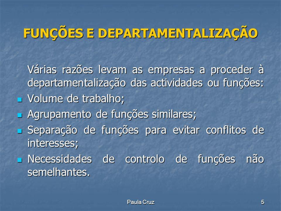 Paula Cruz36 ESTRUTURAS ORGANIZACIONAIS Tipos de estruturas: Simples Simples Funcional Funcional Divisionária Divisionária Em rede.