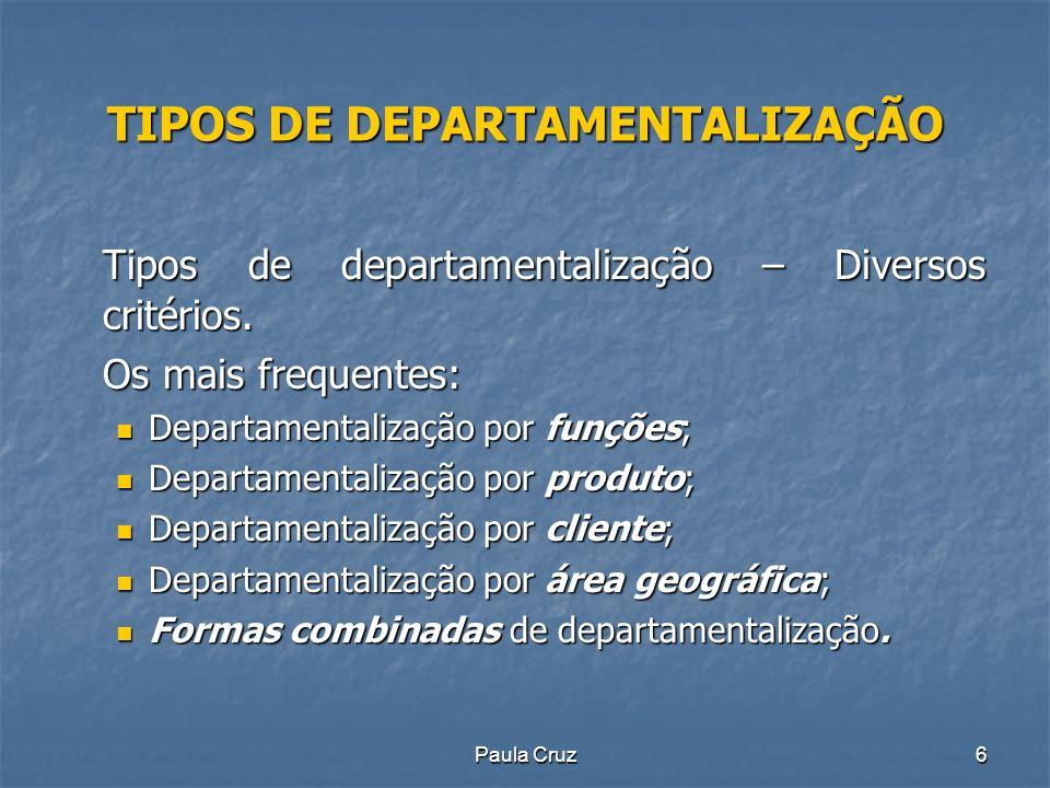 Paula Cruz6 TIPOS DE DEPARTAMENTALIZAÇÃO Tipos de departamentalização – Diversos critérios.