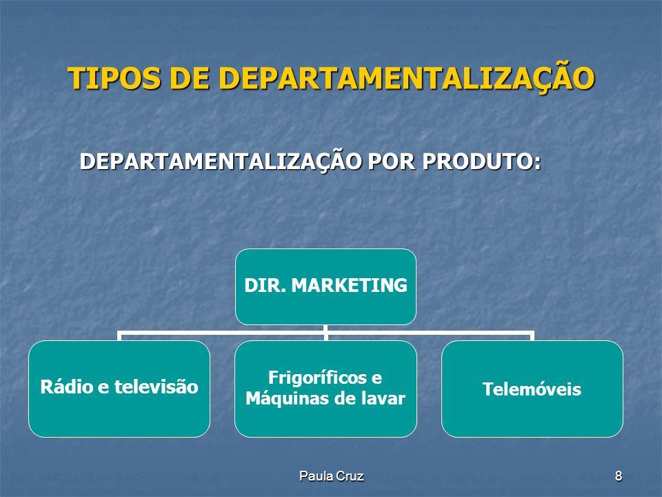 Paula Cruz8 TIPOS DE DEPARTAMENTALIZAÇÃO DEPARTAMENTALIZAÇÃO POR PRODUTO: DIR.