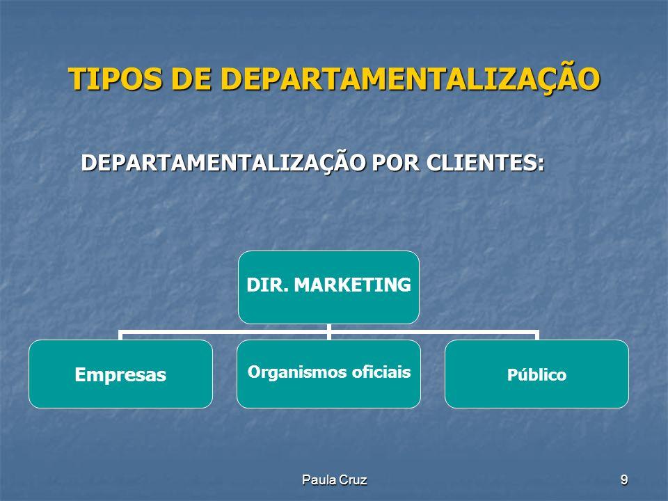 Paula Cruz10 TIPOS DE DEPARTAMENTALIZAÇÃO DEPARTAMENTALIZAÇÃO POR ÁREA GEOGRÁFICA: DIR.