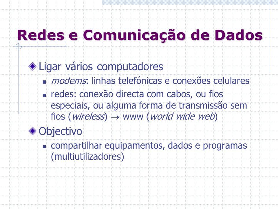 Redes e Comunicação de Dados Ligar vários computadores modems: linhas telefónicas e conexões celulares redes: conexão directa com cabos, ou fios espec