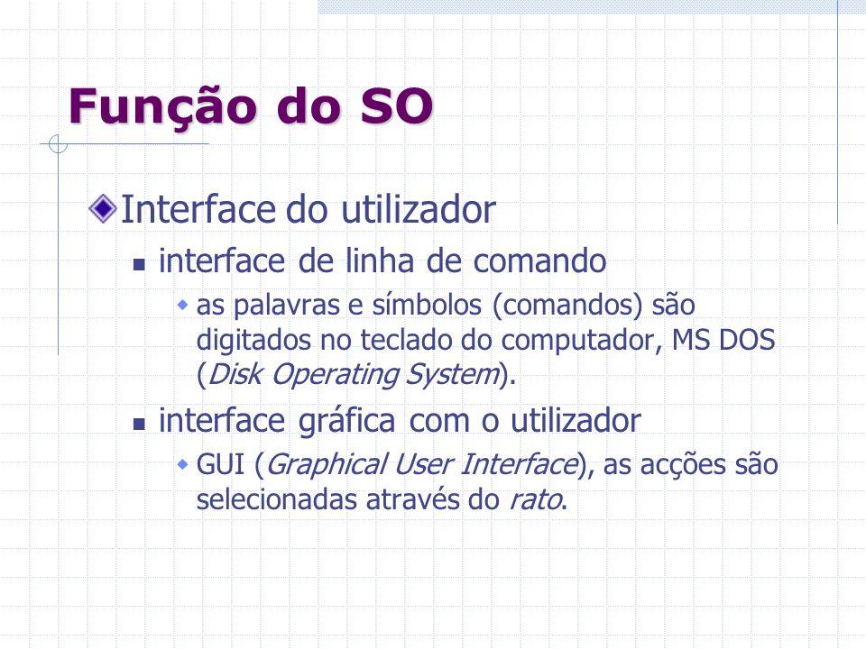 Função do SO Interface do utilizador interface de linha de comando as palavras e símbolos (comandos) são digitados no teclado do computador, MS DOS (D