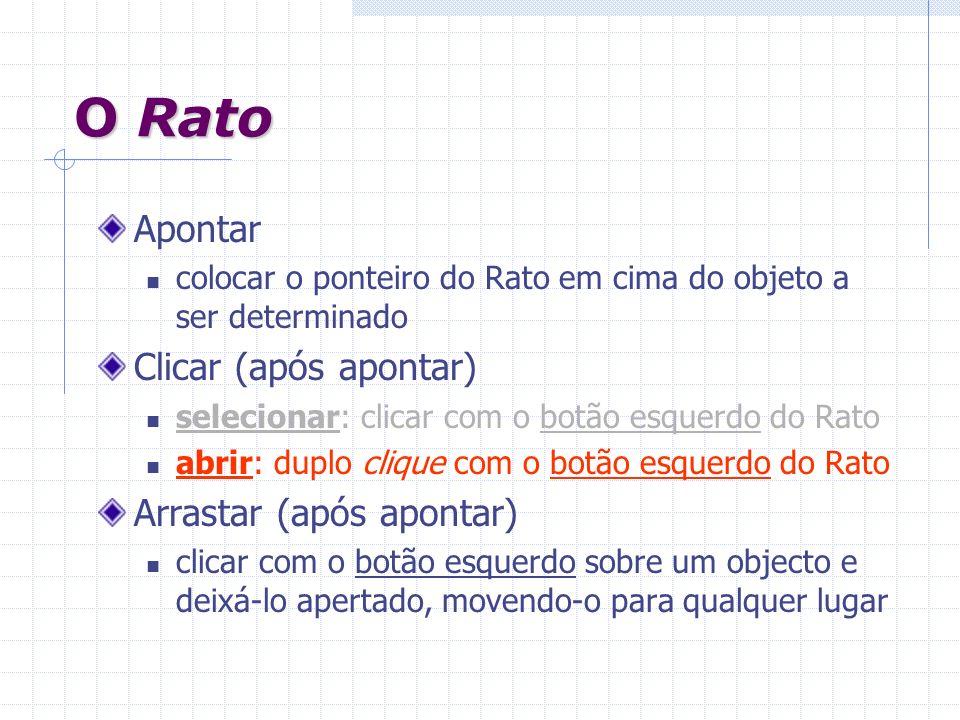 O Rato Apontar colocar o ponteiro do Rato em cima do objeto a ser determinado Clicar (após apontar) selecionar: clicar com o botão esquerdo do Rato ab