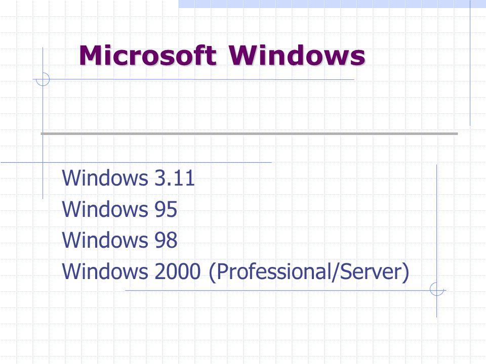 Microsoft Windows Windows 3.11 Windows 95 Windows 98 Windows 2000 (Professional/Server)