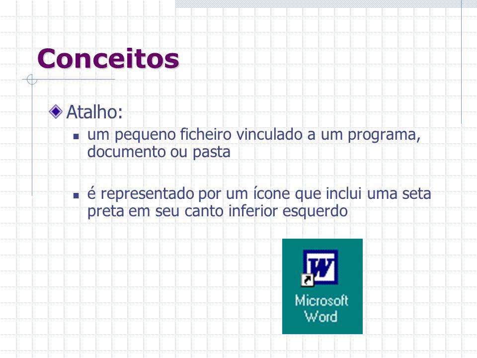 Conceitos Atalho: um pequeno ficheiro vinculado a um programa, documento ou pasta é representado por um ícone que inclui uma seta preta em seu canto i