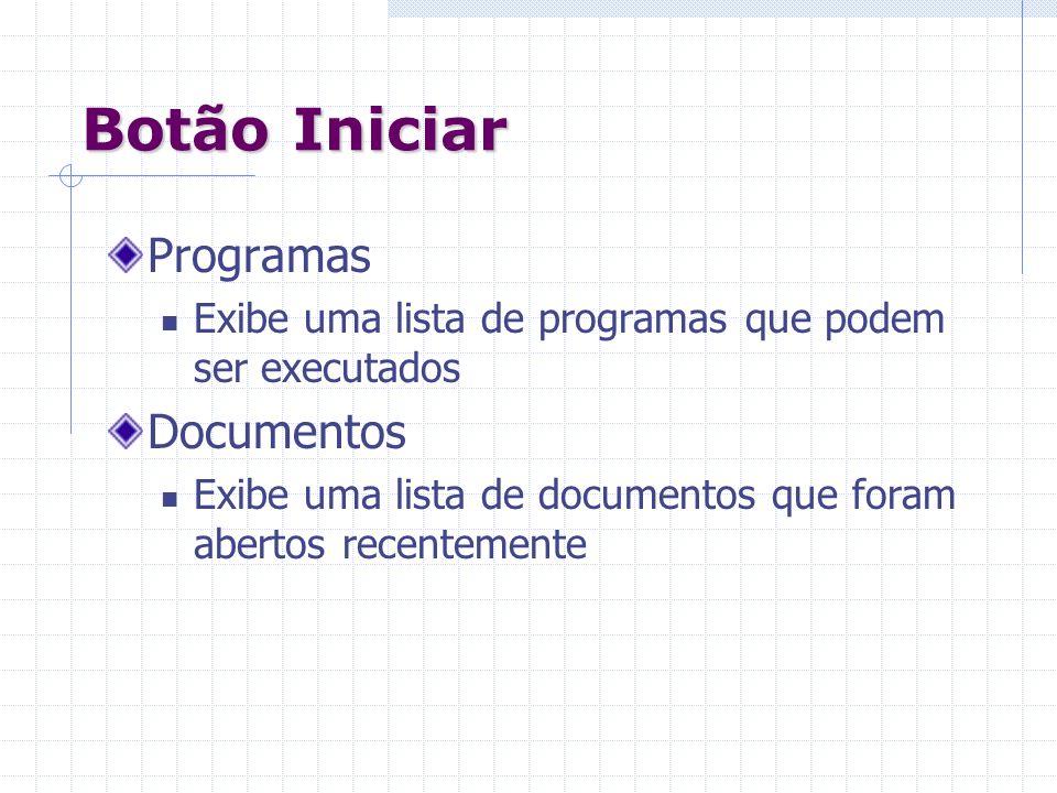 Botão Iniciar Programas Exibe uma lista de programas que podem ser executados Documentos Exibe uma lista de documentos que foram abertos recentemente
