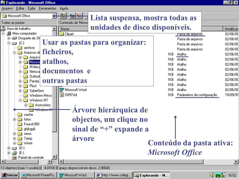 Conteúdo da pasta ativa: Microsoft Office Usar as pastas para organizar: ficheiros, atalhos, documentos e outras pastas Árvore hierárquica de objectos