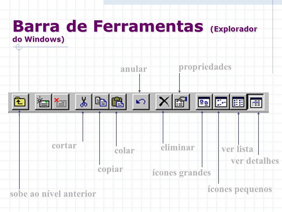 Barra de Ferramentas (Explorador do Windows) sobe ao nível anterior cortar colar copiar anular eliminar propriedades ícones grandes ícones pequenos ve