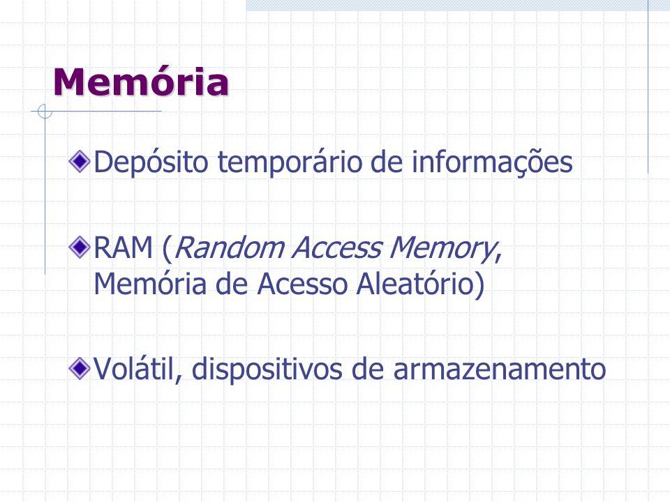 Memória Depósito temporário de informações RAM (Random Access Memory, Memória de Acesso Aleatório) Volátil, dispositivos de armazenamento
