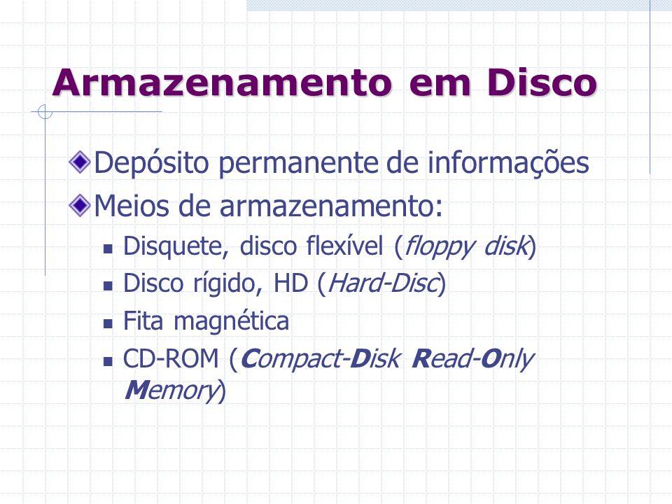 Armazenamento em Disco Depósito permanente de informações Meios de armazenamento: Disquete, disco flexível (floppy disk) Disco rígido, HD (Hard-Disc)