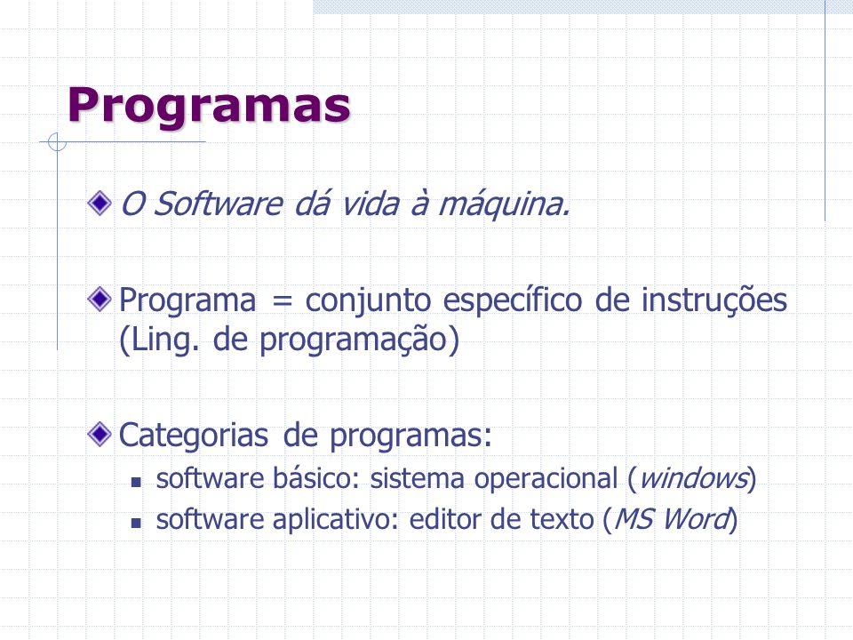 Programas O Software dá vida à máquina. Programa = conjunto específico de instruções (Ling. de programação) Categorias de programas: software básico: