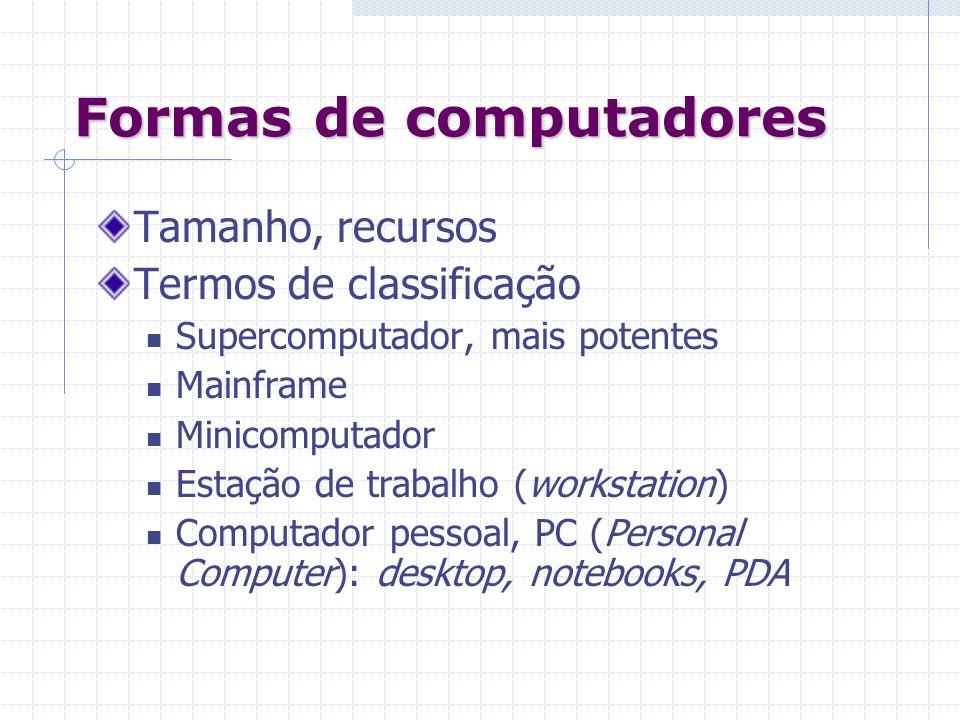 Formas de computadores Tamanho, recursos Termos de classificação Supercomputador, mais potentes Mainframe Minicomputador Estação de trabalho (workstat
