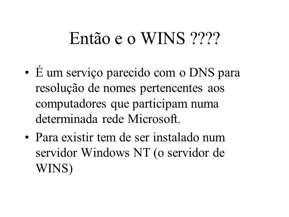 Então e o WINS ???? É um serviço parecido com o DNS para resolução de nomes pertencentes aos computadores que participam numa determinada rede Microso