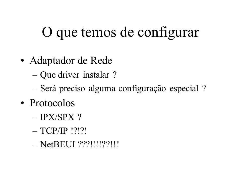 O que temos de configurar Adaptador de Rede –Que driver instalar ? –Será preciso alguma configuração especial ? Protocolos –IPX/SPX ? –TCP/IP !?!?! –N