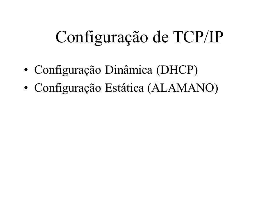 Configuração de TCP/IP Configuração Dinâmica (DHCP) Configuração Estática (ALAMANO)