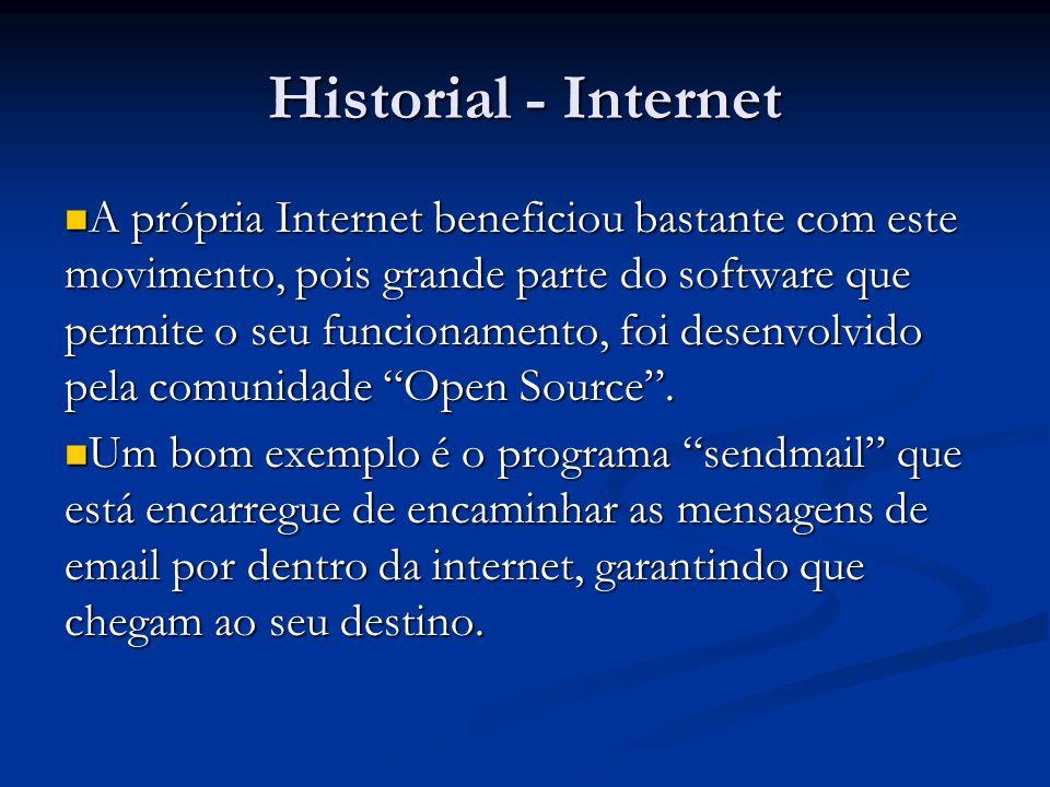 Historial - Internet A própria Internet beneficiou bastante com este movimento, pois grande parte do software que permite o seu funcionamento, foi des