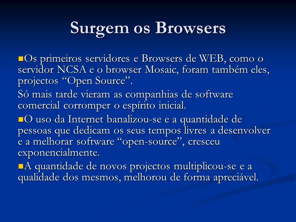 Surgem os Browsers Os primeiros servidores e Browsers de WEB, como o servidor NCSA e o browser Mosaic, foram também eles, projectos Open Source. Os pr