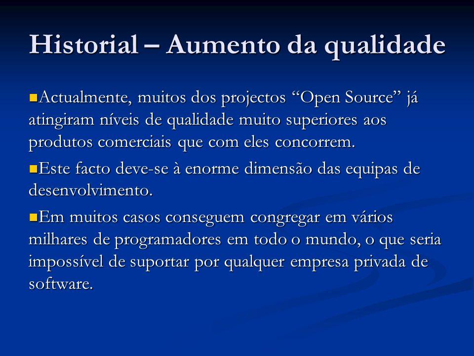 Historial – Aumento da qualidade Actualmente, muitos dos projectos Open Source já atingiram níveis de qualidade muito superiores aos produtos comercia