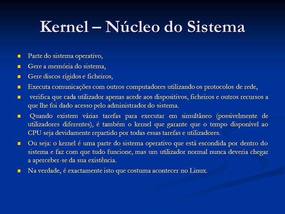 Kernel – Núcleo do Sistema Parte do sistema operativo, Parte do sistema operativo, Gere a memória do sistema, Gere a memória do sistema, Gere discos r