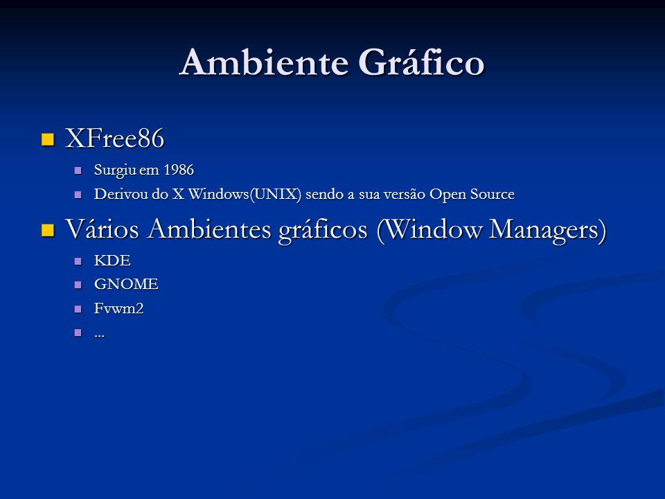 Ambiente Gráfico XFree86 XFree86 Surgiu em 1986 Surgiu em 1986 Derivou do X Windows(UNIX) sendo a sua versão Open Source Derivou do X Windows(UNIX) se