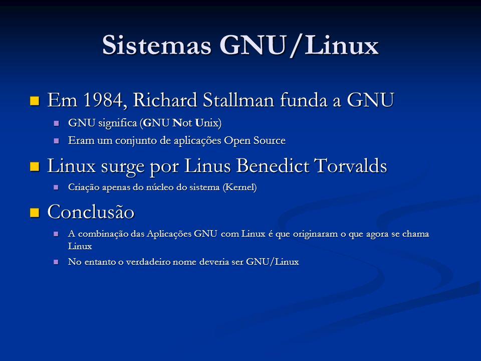 Sistemas GNU/Linux Em 1984, Richard Stallman funda a GNU Em 1984, Richard Stallman funda a GNU GNU significa (GNU Not Unix) GNU significa (GNU Not Uni