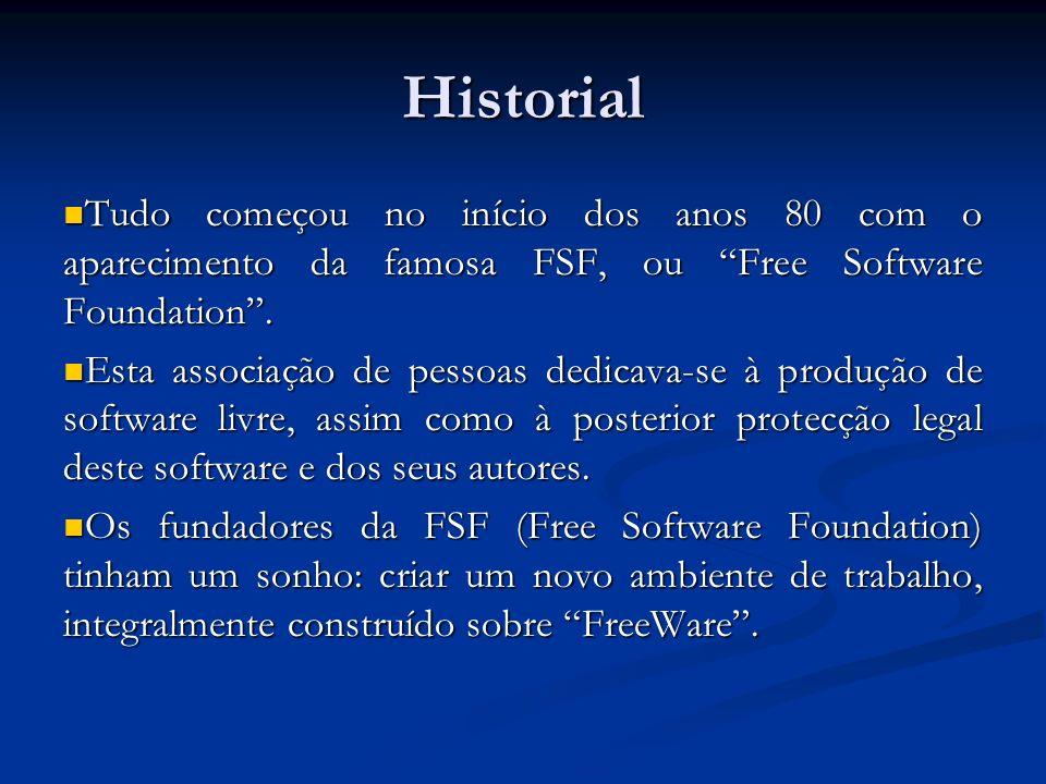 Historial Tudo começou no início dos anos 80 com o aparecimento da famosa FSF, ou Free Software Foundation. Tudo começou no início dos anos 80 com o a