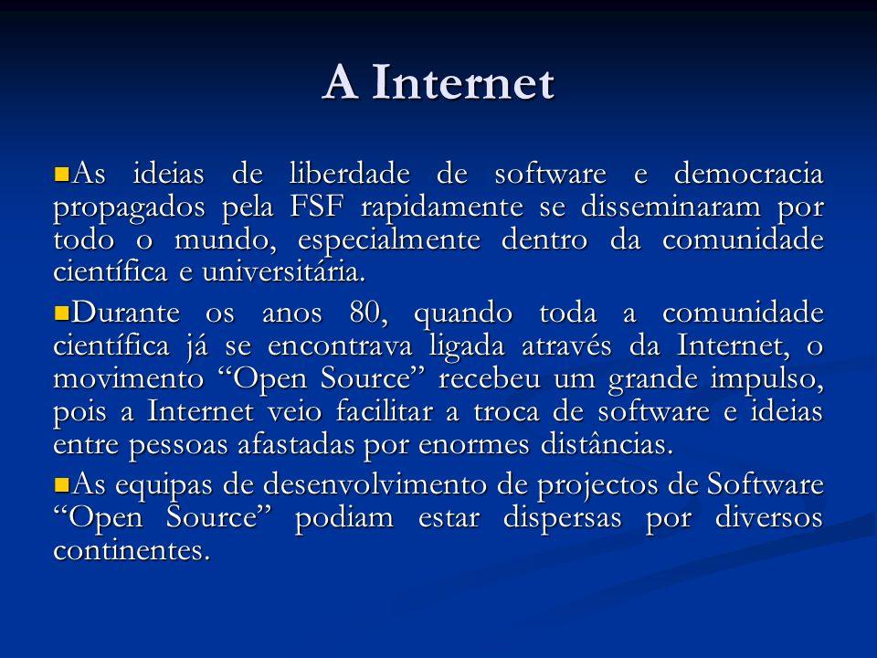 A Internet As ideias de liberdade de software e democracia propagados pela FSF rapidamente se disseminaram por todo o mundo, especialmente dentro da c