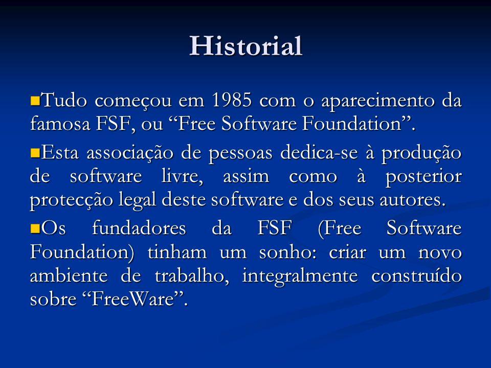 Historial Tudo começou em 1985 com o aparecimento da famosa FSF, ou Free Software Foundation. Tudo começou em 1985 com o aparecimento da famosa FSF, o