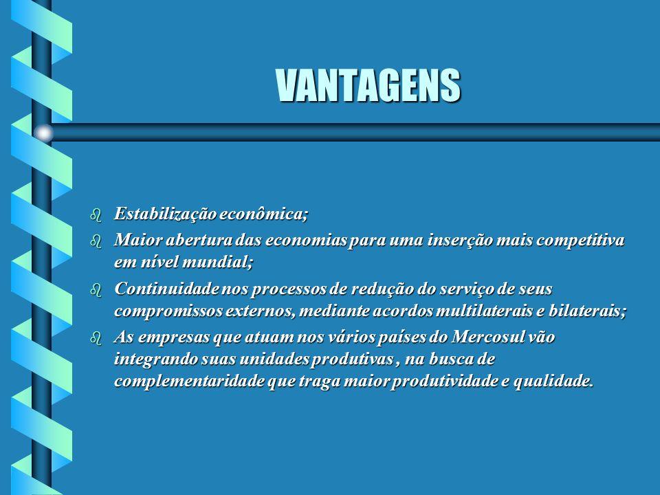 VANTAGENS b Estabilização econômica; b Maior abertura das economias para uma inserção mais competitiva em nível mundial; b Continuidade nos processos