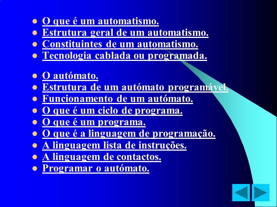 O que é um automatismo. Estrutura geral de um automatismo. Constituintes de um automatismo. Tecnologia cablada ou programada. O autómato. Estrutura de