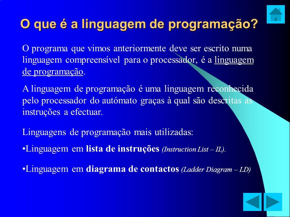 O que é a linguagem de programação? O programa que vimos anteriormente deve ser escrito numa linguagem compreensível para o processador, é a linguagem