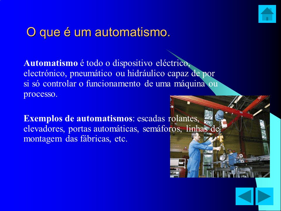 O que é um automatismo. Automatismo é todo o dispositivo eléctrico, electrónico, pneumático ou hidráulico capaz de por si só controlar o funcionamento