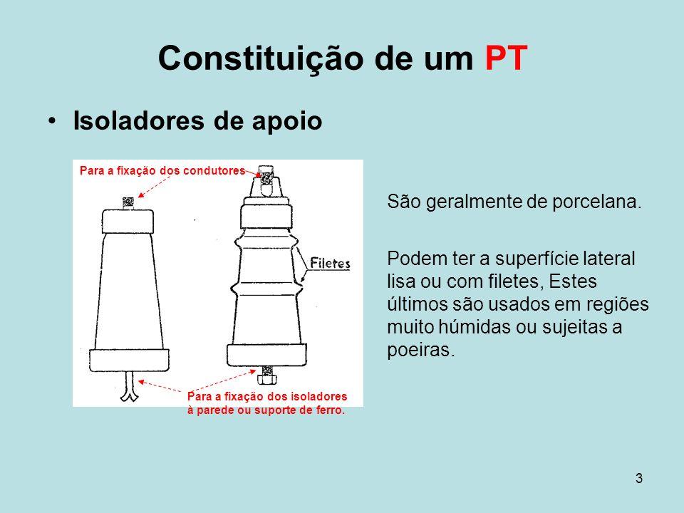 3 Constituição de um PT Isoladores de apoio São geralmente de porcelana. Podem ter a superfície lateral lisa ou com filetes, Estes últimos são usados