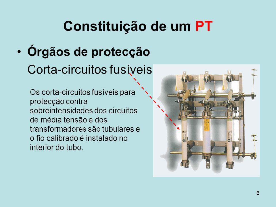6 Órgãos de protecção Corta-circuitos fusíveis Constituição de um PT Os corta-circuitos fusíveis para protecção contra sobreintensidades dos circuitos