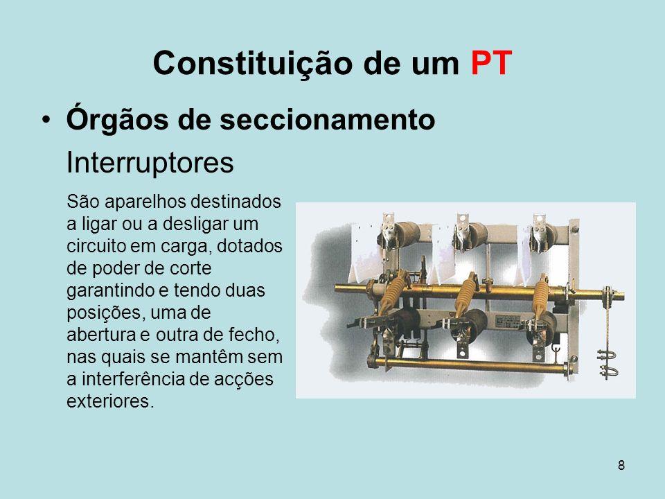 8 Órgãos de seccionamento Interruptores Constituição de um PT São aparelhos destinados a ligar ou a desligar um circuito em carga, dotados de poder de