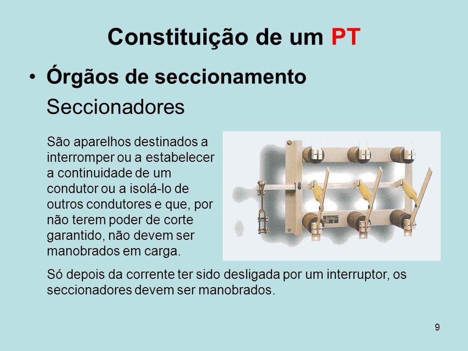9 Constituição de um PT Órgãos de seccionamento Seccionadores São aparelhos destinados a interromper ou a estabelecer a continuidade de um condutor ou