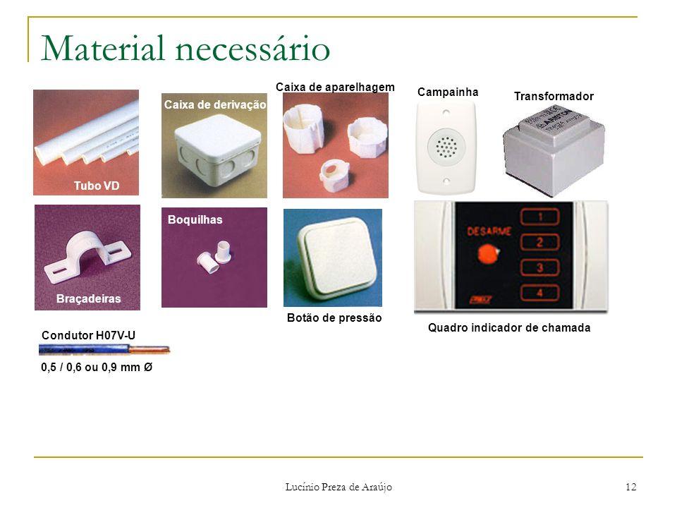Lucínio Preza de Araújo 12 Material necessário Tubo VD Braçadeiras Caixa de derivação Boquilhas Caixa de aparelhagem Botão de pressão Transformador Co