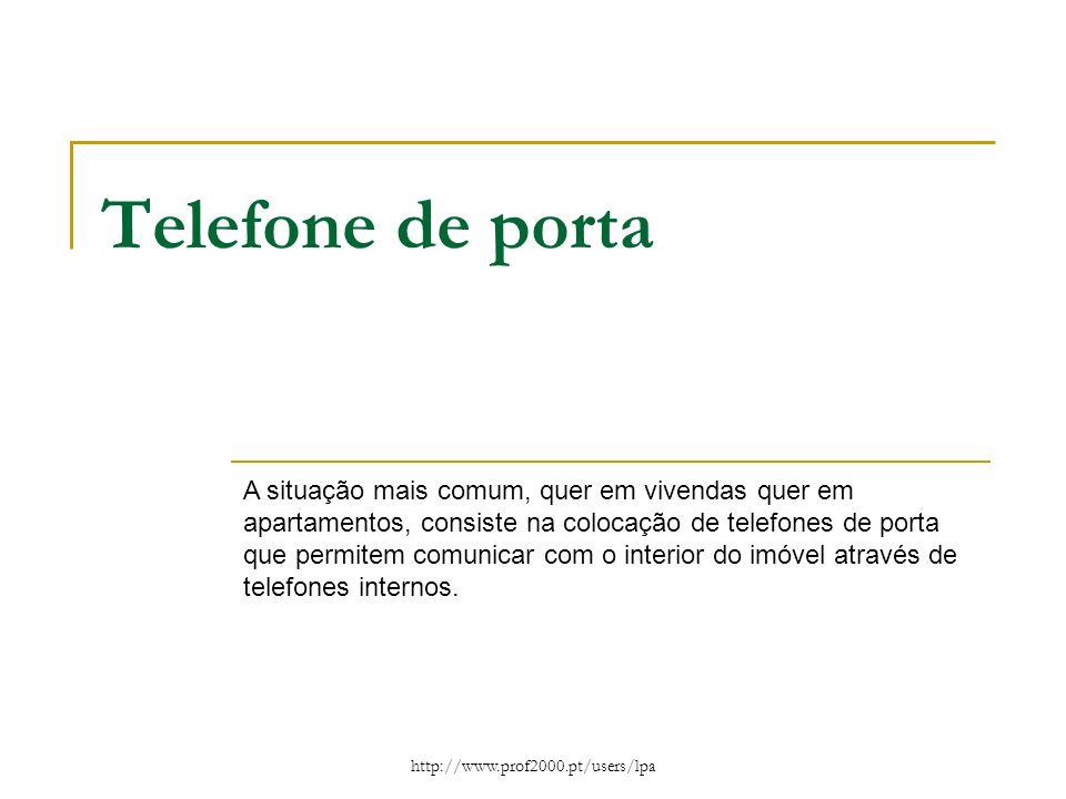 http://www.prof2000.pt/users/lpa Telefone de porta A situação mais comum, quer em vivendas quer em apartamentos, consiste na colocação de telefones de