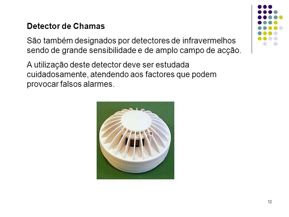 12 Detector de Chamas São também designados por detectores de infravermelhos sendo de grande sensibilidade e de amplo campo de acção. A utilização des