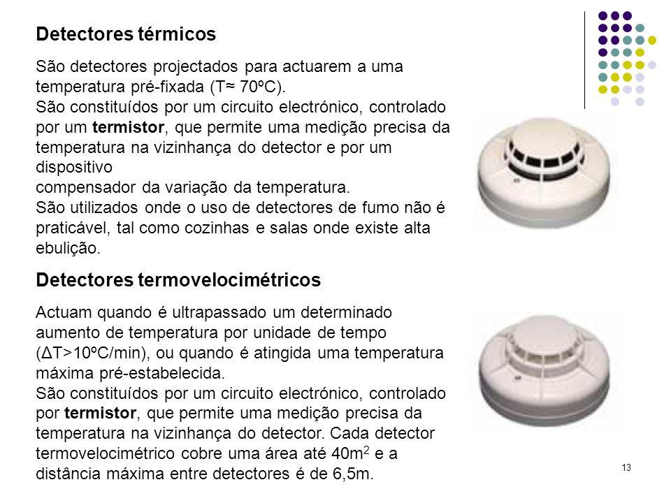 13 Detectores térmicos São detectores projectados para actuarem a uma temperatura pré-fixada (T 70ºC). São constituídos por um circuito electrónico, c