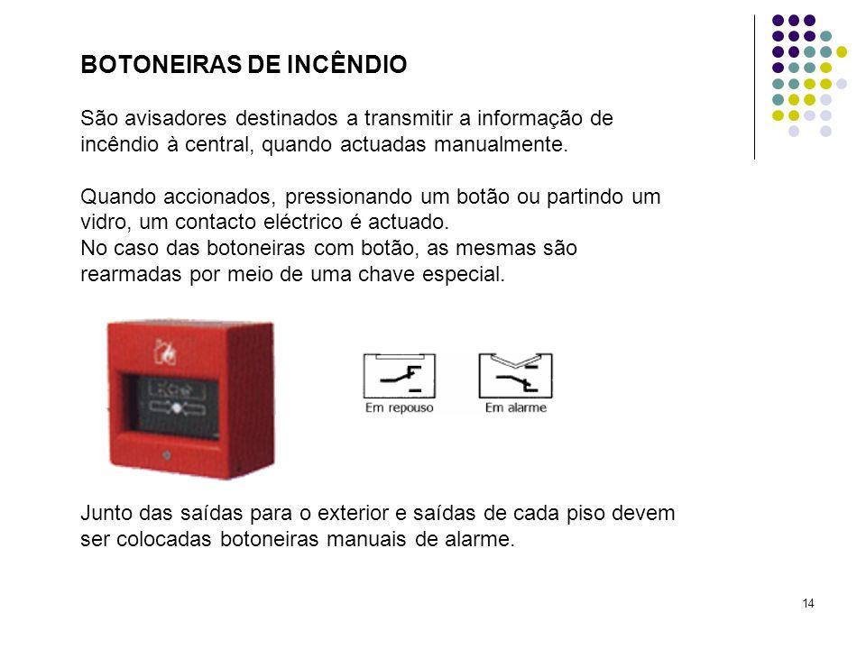 14 BOTONEIRAS DE INCÊNDIO São avisadores destinados a transmitir a informação de incêndio à central, quando actuadas manualmente. Quando accionados, p