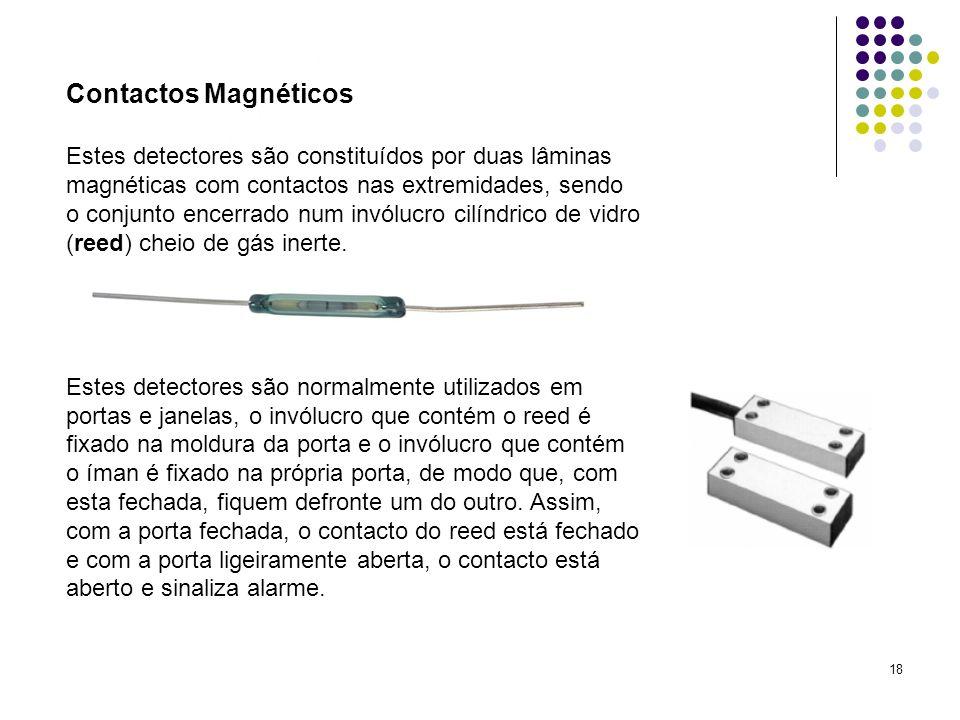 18 Contactos Magnéticos Estes detectores são constituídos por duas lâminas magnéticas com contactos nas extremidades, sendo o conjunto encerrado num i